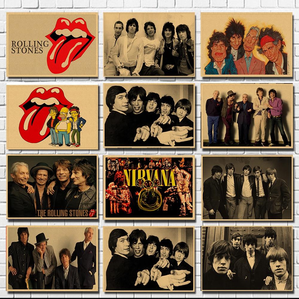 Big Tongue Music Rock Band Kraft Paper Bar Poster Wall Stickers Retro Poster