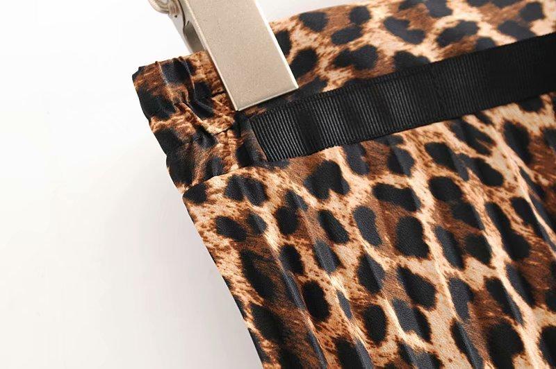 2019 Leopard Pleated Skirt with Bow Belt High Street Women Animal Print Midi Skirts 11