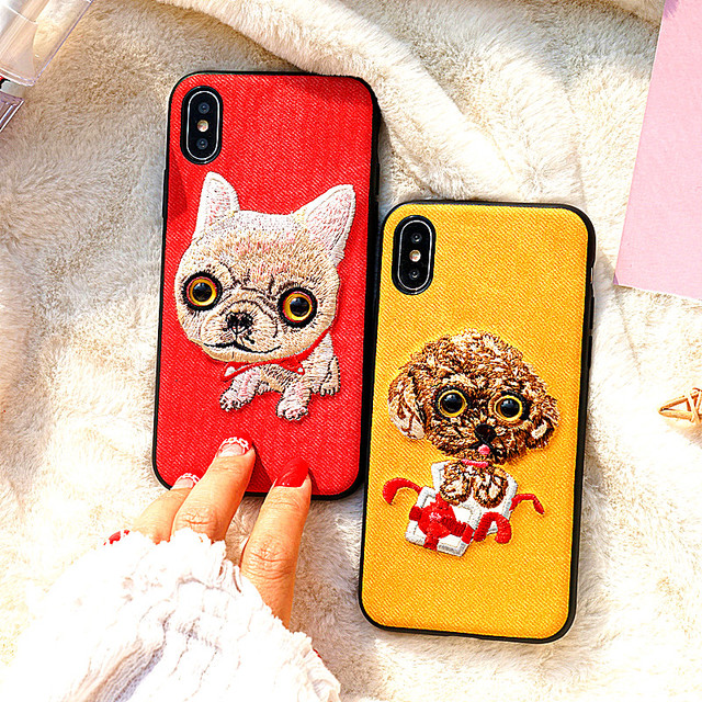 denim all-inclusive Cute animal embroidery back cover  For iPhone X phone cover  For 5 5S 6 6S 6SP 7 8 Plus Shell Bags silicone