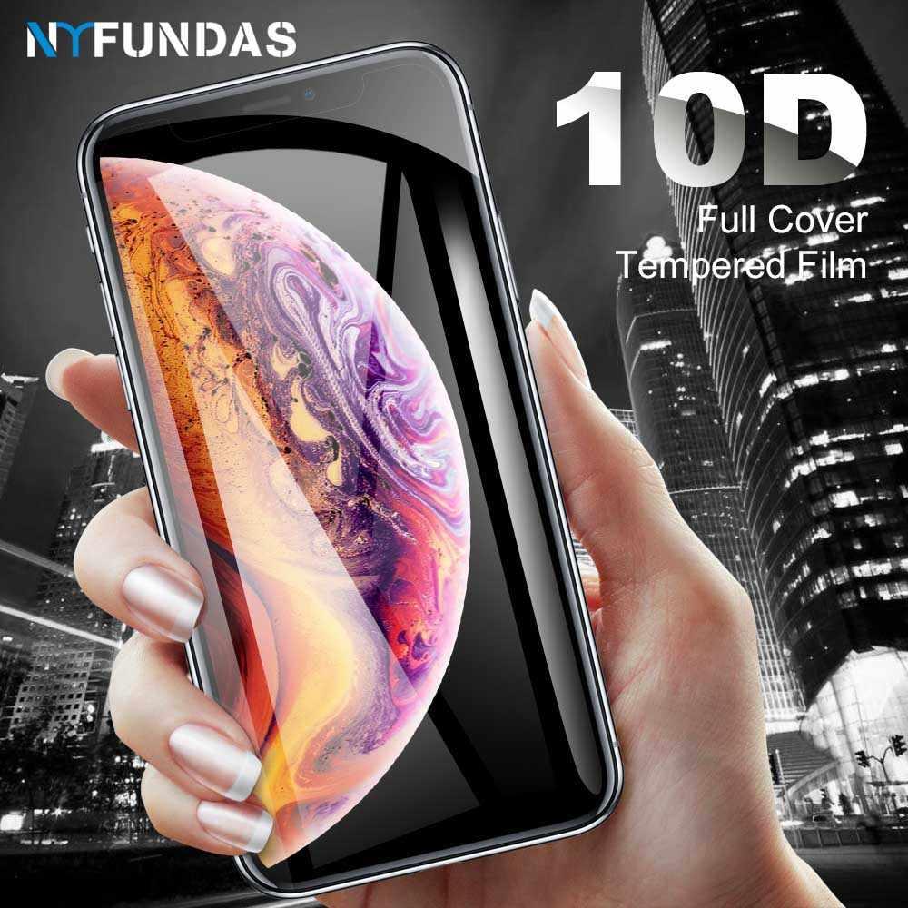 NYFundas 10D vidrio templado para iphone XS MAX XR X protector de pantalla cobertura completa 9 h duro para iphone 8 plus 7 7 6 6 s plus 10
