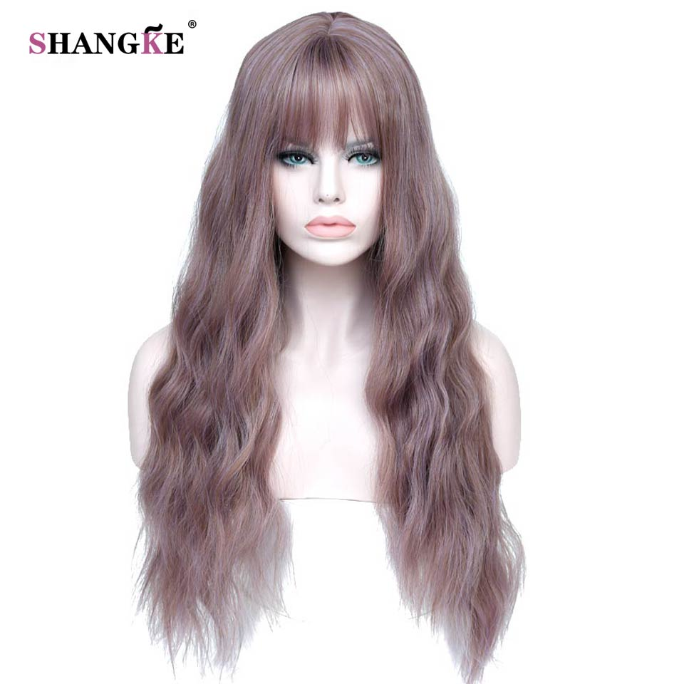 SHANGKE 26″ Long Mix Purple Womens Wigs with Bangs Heat Resistant Synthetic Kinky Curly Wigs for Women African American
