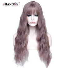 "SHANGKE 26 ""SLong Mix Purple Womens Wigs with Bangs Heat Resistant სინთეზური Kinky Curly Wigs for Black Women African American"