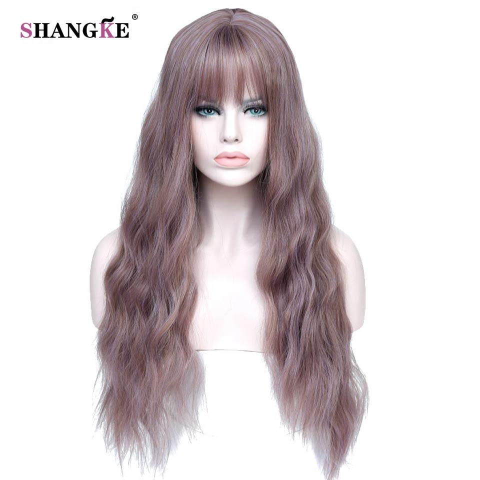 Shangke 26 Длинные смешать фиолетовый Для женщин S Искусственные парики с Синтетические чёлки волос термостойкие синтетических кудрявый Искус... ...