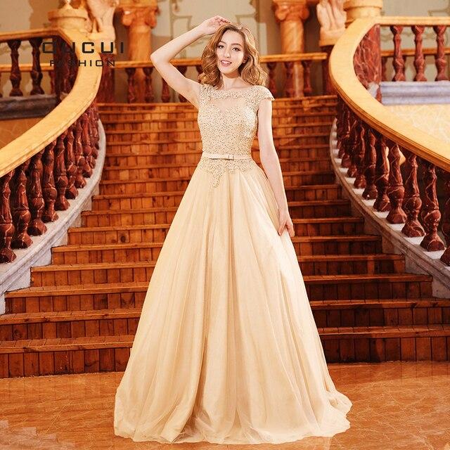 2b59cc28dc Ball Gown Elegant Long Prom Dresses Cap Sleeve Tulle Appliques Floor Length  Formal Dress Party For Graduation Vestido OL103304