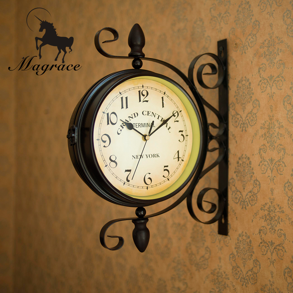 Online Get Cheap Double Sided Hanging Wall Clock Aliexpresscom