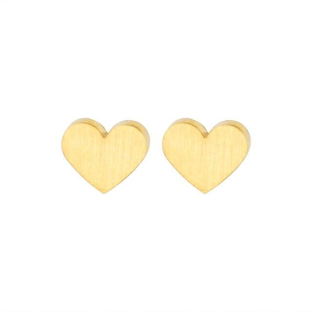 Minimalist Cute Little Rose Gold Heart Stud Earrings For Women Baby S Gifts Aretes De Mujer