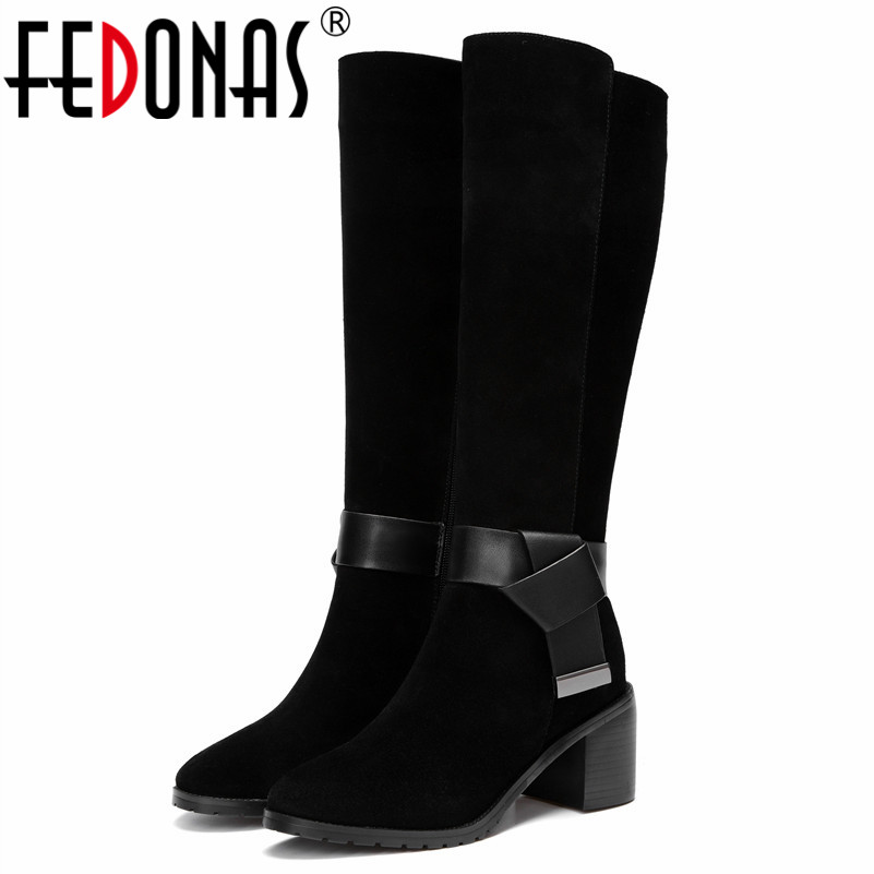FEDONAS Classic Design Women Knee High Boots Buckles Warm Autumn Winter Long Shoes Woman High Heels Round Toe Motorcycle Boots enmayer high heels charms shoes woman classic black shoes round toe platform zippers knee high boots for women motorcycle boots