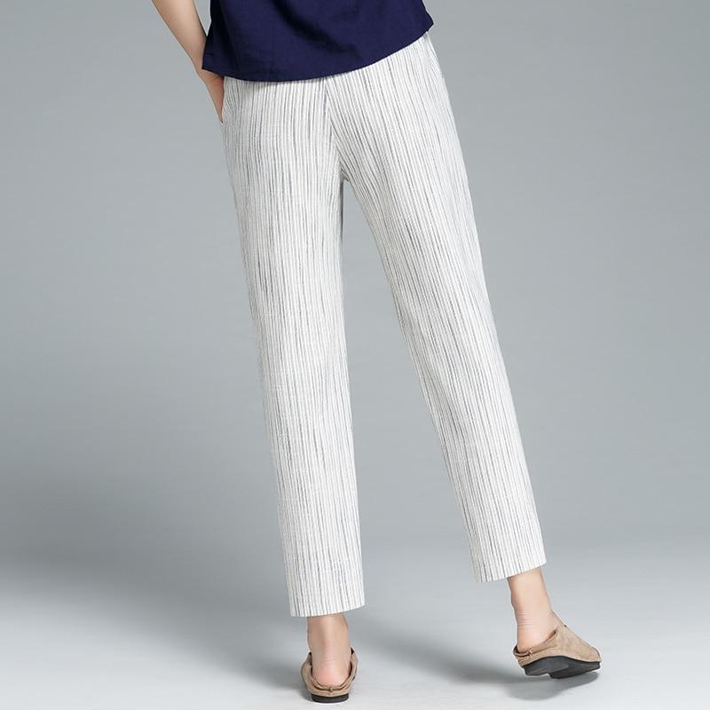 กางเกงผู้หญิง40%ผ้าลินิน40%ผ้าฝ้ายผสมกลางกระเป๋าเอวยางยืดกางเกงน่องยาวออกแบบที่เรียบง่ายพลัสขนาด2018แฟชั่นใหม่-ใน กางเกงและกางเกงรัดรูป จาก เสื้อผ้าสตรี บน   3