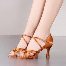цены USHINE BD211 Professional Quality Heel 7.5 / 5.5cm Silk Satin Latin Ballroom BD Latin Dance Shoes Woman Dance Shoes