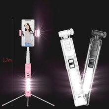 4 в 1 держатель для телефона селфи палка штатив выдвижной монопод с Bluetooth пульт дистанционного управления красота заполняющий свет для Xiaomi iphone смартфон