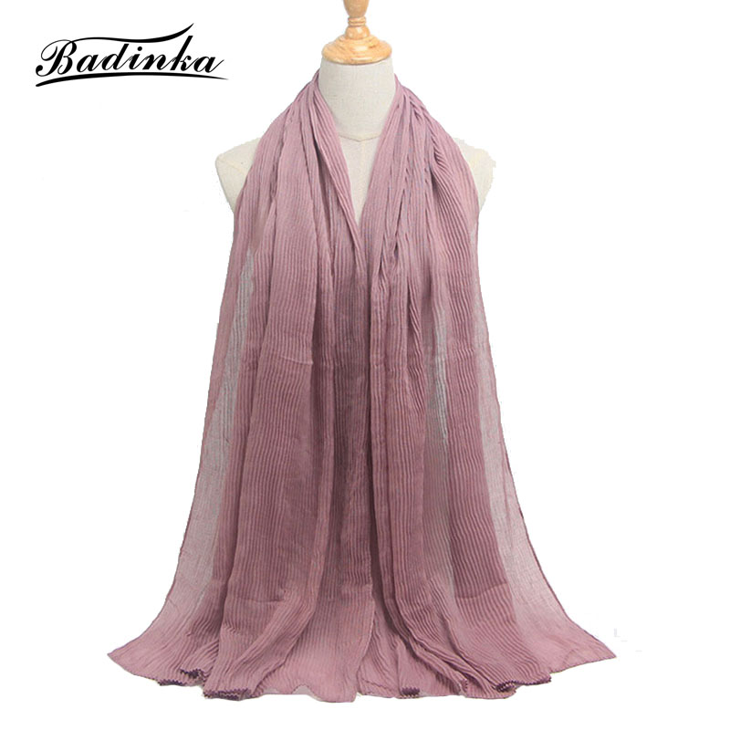 Badinka 2019 New Plain Crinkle Muslim Head Jersey Hijab   Scarf   Jilbab Bandana Mujer Wrinkle Bubble Hair   Scarves     Wraps   for Women