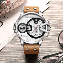 WEIDE Mens Luxury Watches Brown Leather Strap Band Quartz Movement Analog Business Clock Sports Wrist Watches Relogio Masculino стоимость