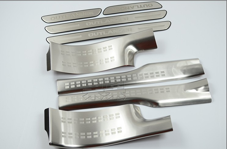 Car styling 304 Stainless Steel Internal External Scuff Plate Door Sill for Mitsubishi Outlander EX Evolution