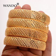 WANDO 4Pcs/Lot Gold Color Hollow Dubai Bangles Women Ethiopian Bracelets Middle East Wedding Jewelry African Gift wholesale B185(China)