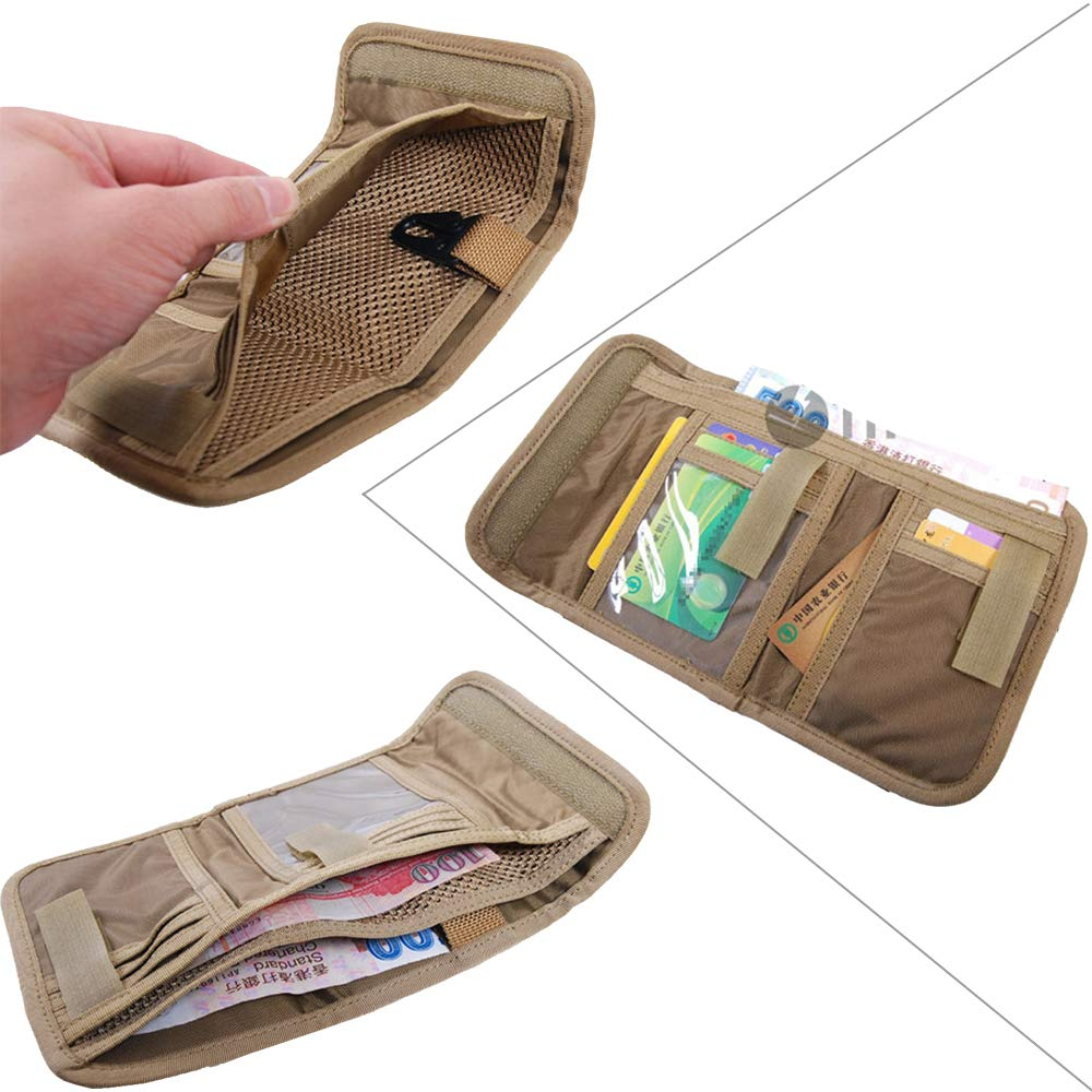 Military Trifold Wallet Money Holder, Tactical Patriotic Wallet Organizer With Hook & Loop Closure