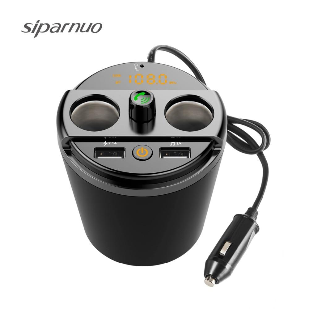 Siparnuo Bluetooth Fm Transmitter USB Car Charger Voltage Current DisplayCar Cup Holder Car Cigarette Lighter Socket Adapter