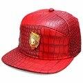 2016 de Lujo Lion Head Hombres Punky de La Calle de LA PU Sombrero de Oro Logo Rhinestone Paneles Gorra de Béisbol Patrón de Cocodrilo de Cuero Ocasional Cap