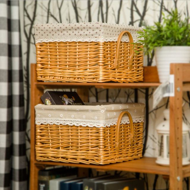 Online Shop Decorative Natural Wicker Rattan Baskets Storage