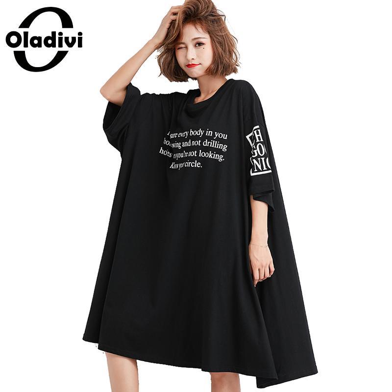 Oladivi Brand Oversized Plus Size Women Letter Print Summer Shirt Dress Black Ladies Casual Loose Short Dresses Female Vestidos
