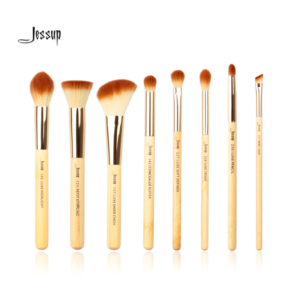 Jessup Bamboo 8pcs Beauty Professional Makeup Brushes Set Make up Brush Tools kit Foundation Stippling Highlight Cheek
