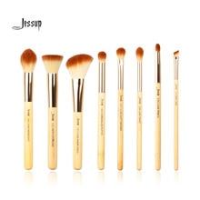 Jessup Brand 8pcs Beauty Bamboo Professional Makeup Brushes Set Make up Brush Tools kit Foundation Stippling Highlight Cheek