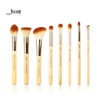 Jessup Brand 8pcs Beauty Bamboo Professional Makeup Brushes Set Make Up Brush Tools Kit Foundation Stippling