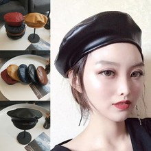 46c8a216853 2019 New 5 Colors Vintage Faux PU Leather Beret Hat Flat Cap Solid Black  Coffee Wine