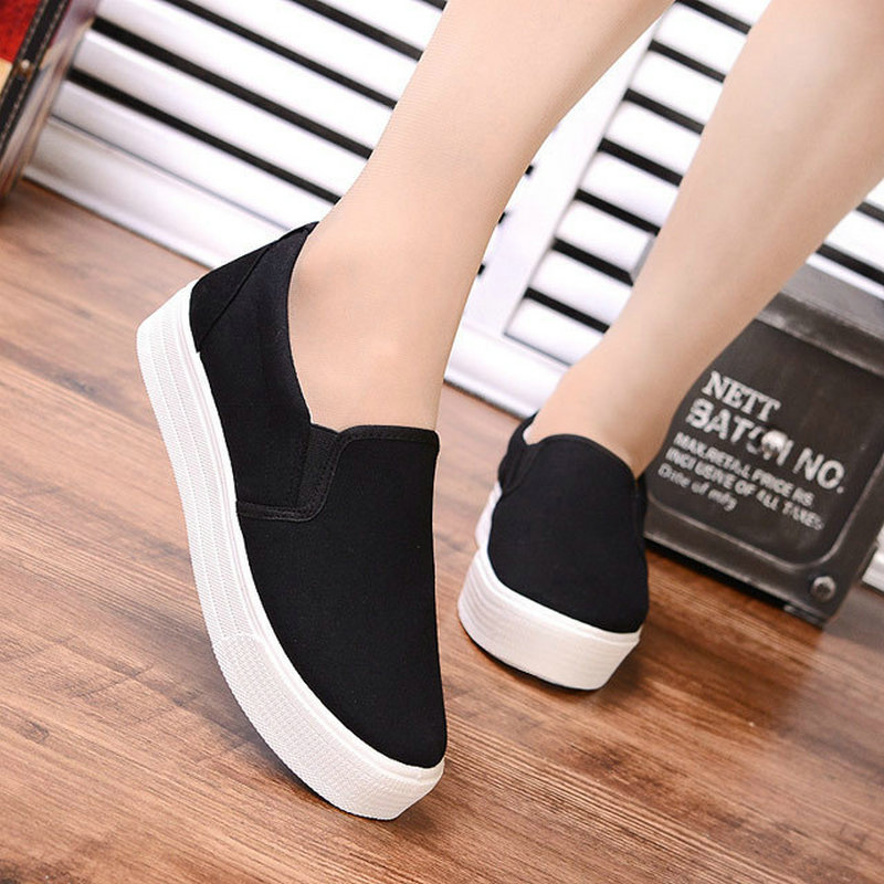 4ca519bd6e13 Women Flats Canvas Solid Color Wedges Platform Shoes Casual Style