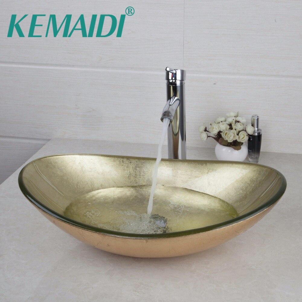 KEMAIDI Amarelo Oval de Vidro Da Bacia Banheiro Vessel Sink Vanity Bacia Misturador Banheiro Lavatório Torneira em Latão cromado Set w/Drenagem
