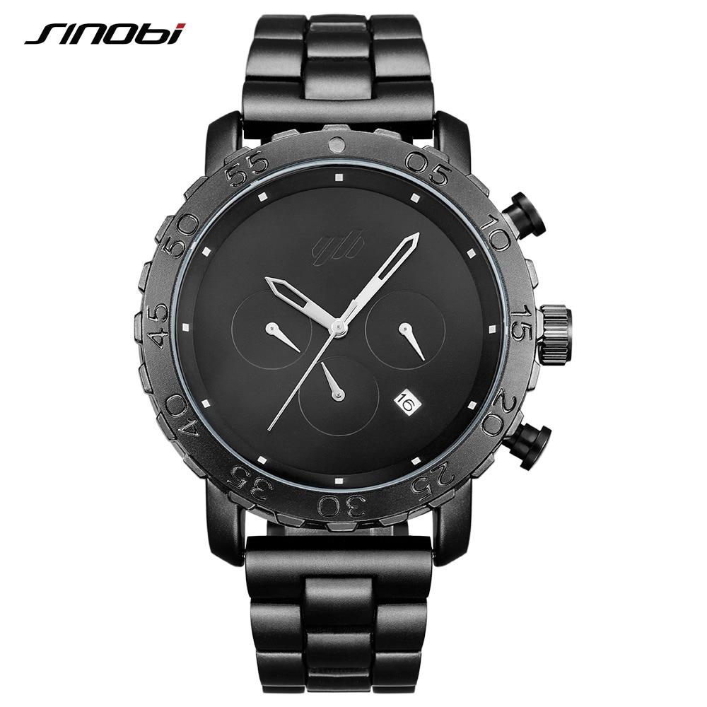 SINOBI Relogio Masculino Men's Sports Watches Spy Black Stainless Steel Waterproof Business Wristwatch Chronograph Quartz Watch