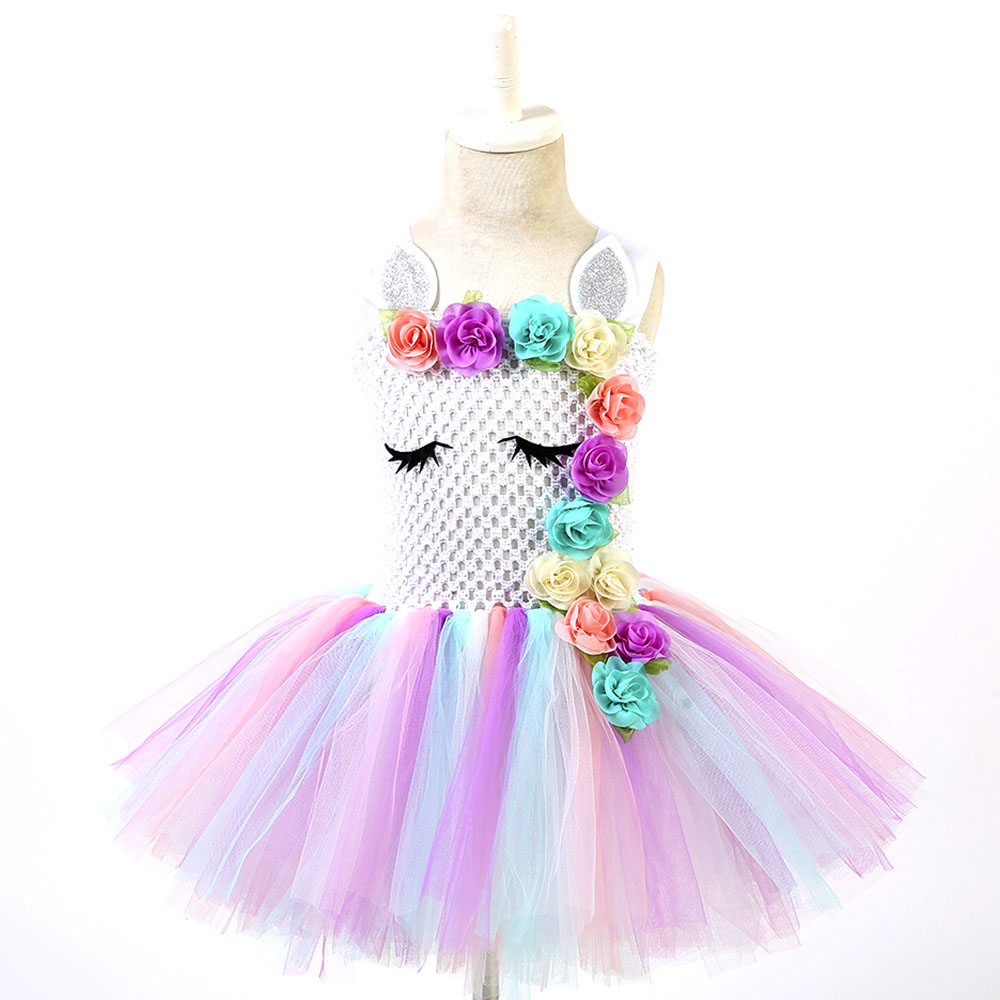 Flower Girl Unicorn Tutu Dress Ball Gown for Kid Birthday Party Cosplay Costume