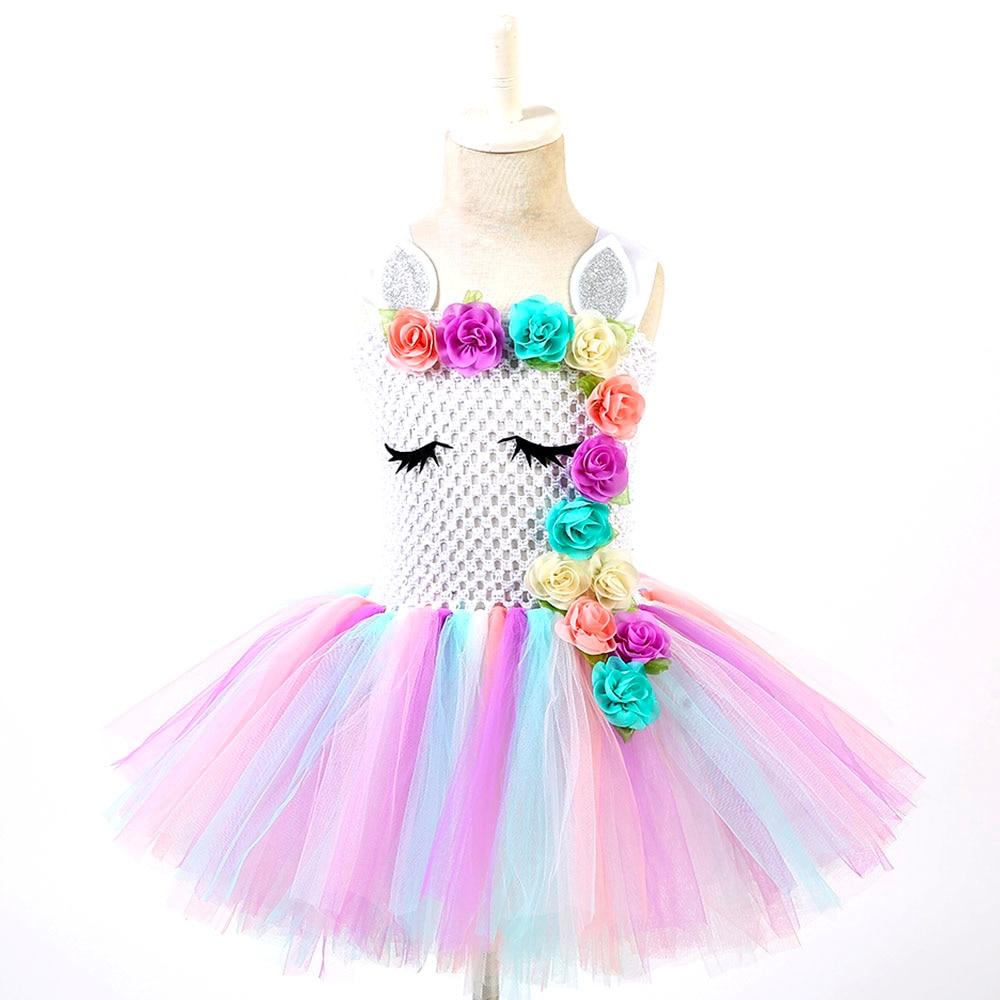 Pastel Unicorn Tutu Dress Baby Kids Girls Flowers Birthday Masquerade Party Dresses Child Purim Day Halloween Christmas Costume #2