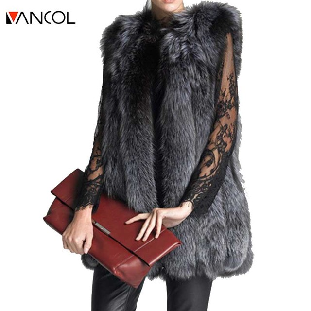 Vancol 2016 High Quality Russia Outwear Thick Female Winter Jacket Ladies  Faux Silver Fox Fur Vest  Long Fur Coat Women