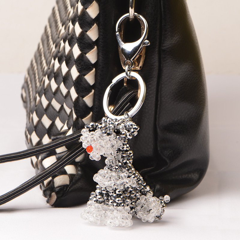 RongDe Exquisite Hand woven lovely man-made crystal schnauzer Purse Bag Buckle HandBag Pendant For Car Keyrings