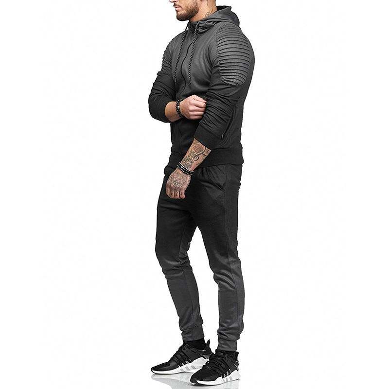 ZOGAA Brand New Casual Men's Tracksuit Outwear Gradient Track Suit Male Fitness Sweat Suit Hooded Sweatshirt For Running Fitness