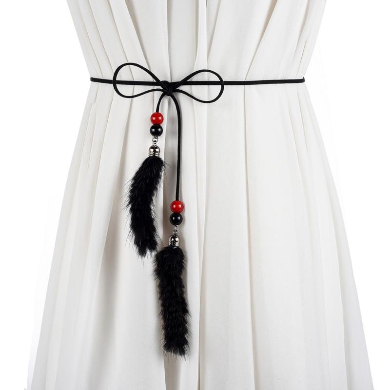 2019 Women Fashion All-match Flannel Feather Belt 160cm Belts For Women Thin Waist Rope Belts Women Derss Accessories
