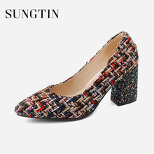 Sungtin Sexy Bling Party Block Heel Pointed Toe High Heels b6796fe1c16d