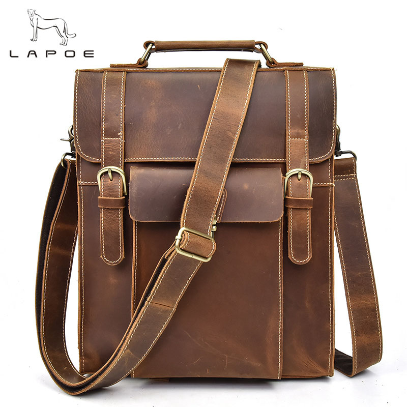 LAPOE Crazy Horse Genuine Leather Backpack Men High Quality Laptop Bags Travel Backpack Student School Bag Man Rucksack new gravity falls backpack casual backpacks teenagers school bag men women s student school bags travel shoulder bag laptop bags