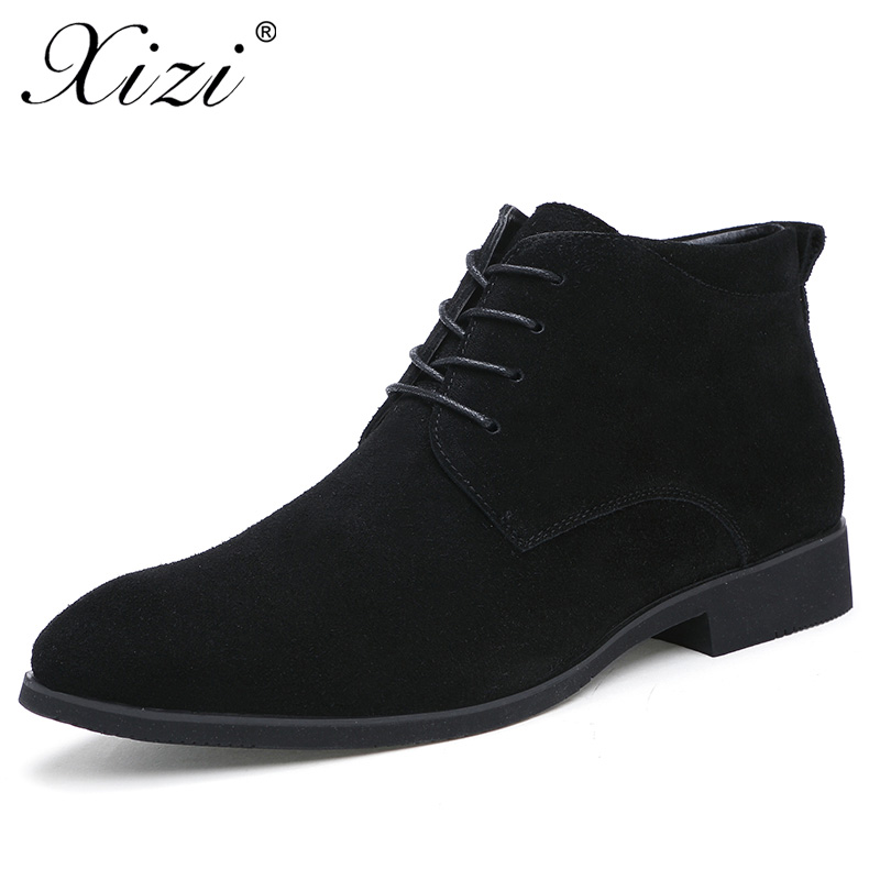 XIZI Brand 2017 Winter Men Casual Boots Genuine Leather Men Ankle Boots With Fur British Style Solid Lace-up fashion Male Boots british style vintage men ankle boots genuine leather male tooling boots riding equestrian lace up autumn winter 2 5
