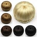 Women Fashion Clip in Chignon Hepburn Style 60 Grams Braided Chignons Lady Straight Blonde Hair Bands Fake Hair Bun For Brides