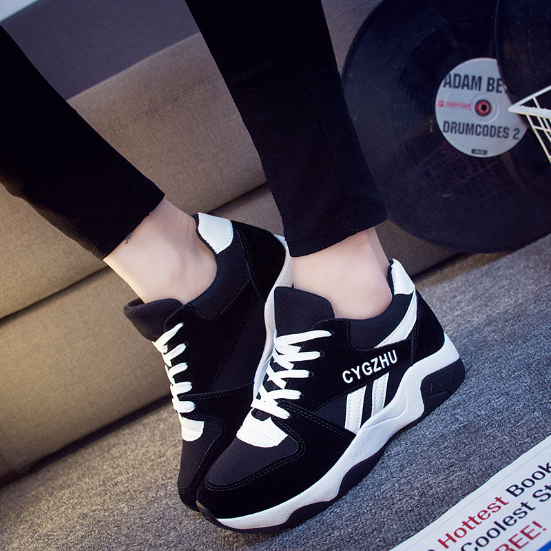 Women Running Shoes Lace Up Thick Bottom Blue Patchwork Sneakers Height Increasing Non-slip Shoes for Travel Daily Walking slip-on shoe