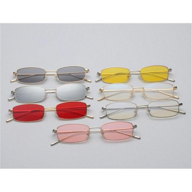 3225bb3dc MINCL/pequeno retângulo óculos de sol dos homens lente amarela 2018 armação  de metal vermelho