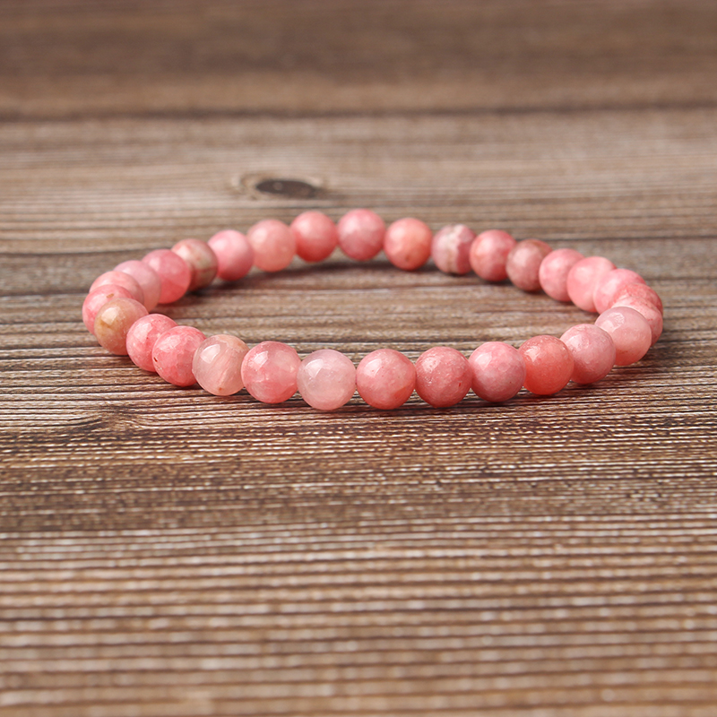 Lingxiang 6 8 10 12mm add colors Rhodochrosite bracelet is suitable for men and women to wear elastic string beaded jewelry in Strand Bracelets from Jewelry Accessories