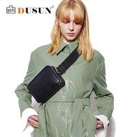 DUSUN Unisex Waist Bag Women Fanny Packs PU Leather Casual Solid Pillow Ladies Waist Packs Chest Pack Famale Bolsa For Black Sac