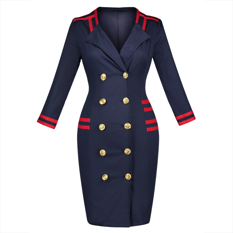Young17 Autumn Dress Women Blue Sexy Club Double-Breasted Color Block Knee-Length Fall Dress Straight Navy Style Dress ...