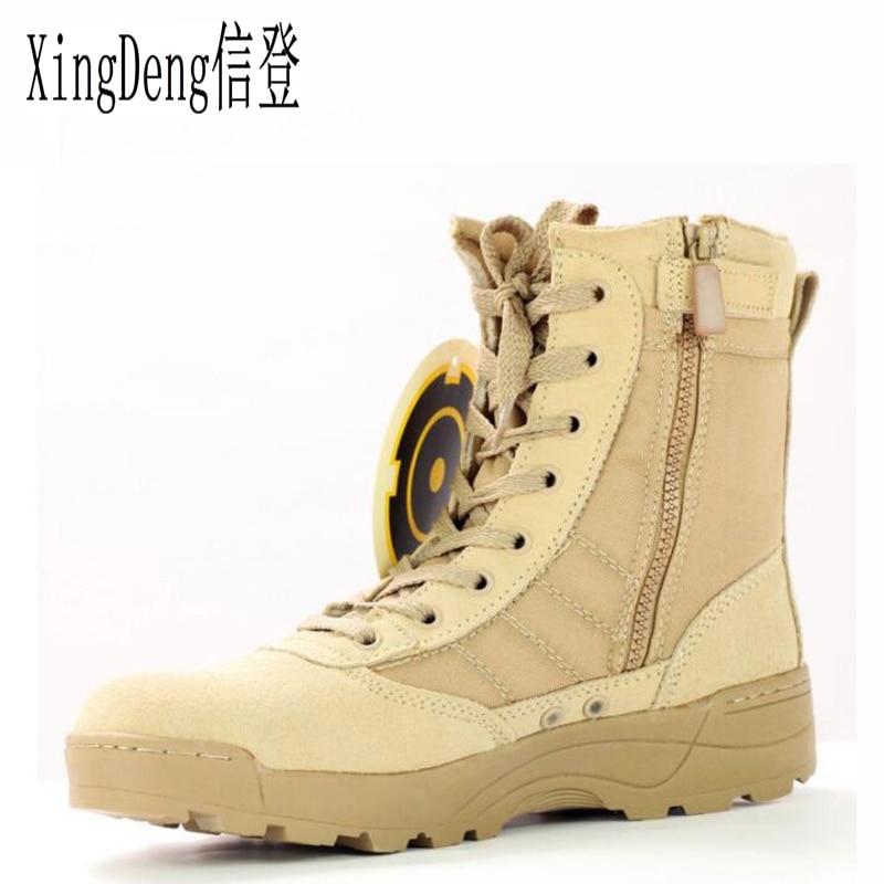 XingDeng wear-resistant Army Military Boots Shoes Plus Size 38-45 Brand Men Desert Tactical Combat Boots Обувь