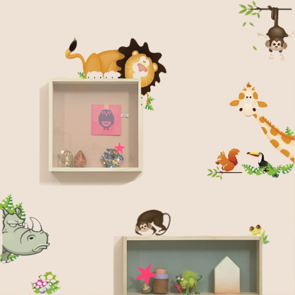 Cute Jungle Wild Animals Lovely Wall Sticker For Kids Room