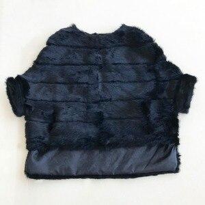 Image 1 - Abrigo de piel de conejo para mujer, chaqueta de piel de manga de murciélago, abrigo de piel Real holgado corto Rosa Natural para mujer WSR451