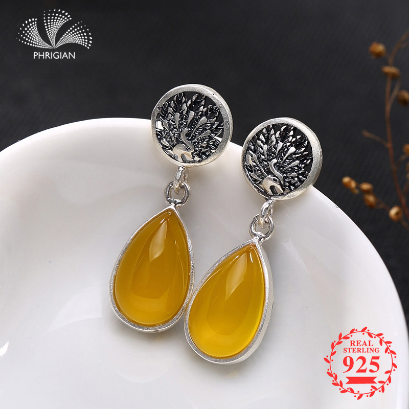 NOT FAKE S925 Fine Poland Earrings  925  Sterling Silver Women upper class noble Nature Retro Exquisite citrine Amber life treeNOT FAKE S925 Fine Poland Earrings  925  Sterling Silver Women upper class noble Nature Retro Exquisite citrine Amber life tree