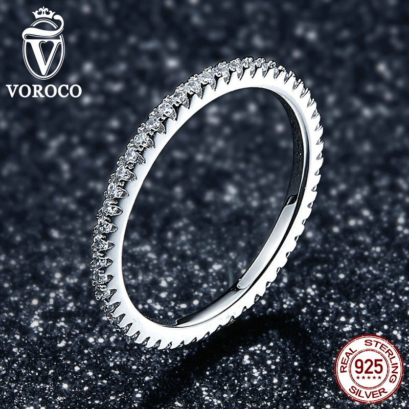 VOROCO Real 925 Sterling Silver  Simple Design Round Wedding Ring Glitter Clear CZ Crystal Rings Woman Fine  Jewelry BKR066